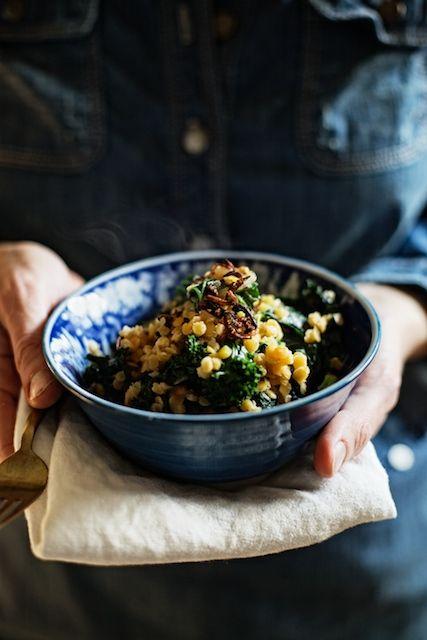 red lentils & kale with coconut, ginger & crispy shallots