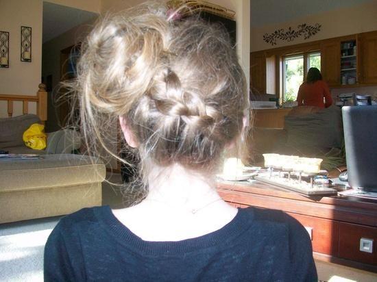 diagonal Dutch braid bun