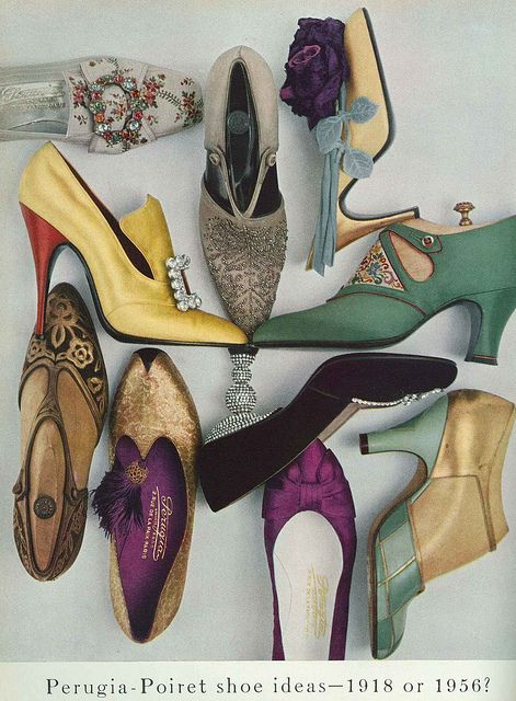 I adore the bejeweled pair in the top left. #shoes #vintage #fashion #1950s