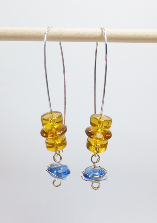 Blue and Amber Glass Beads on Long SilverPlated Earwires by tzteja, $12.00  #jewelry, #earrings, #beaded, #designsbytamiza, #handmade, #ooak, #glass, #yellow, #blue,