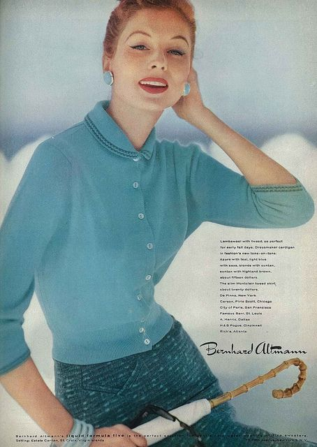 Lovely, upbeat shades of 1950s teal and aqua for spring. #vintage #fashion #1950s #ad