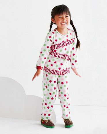Holiday Ruffles Flannel Pajamas by Sara's Prints - Baby Girls & Girls
