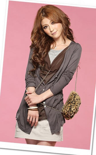 Korean Fashion New Long Sleeve T-Shirt Khaki - BuyTrends.com