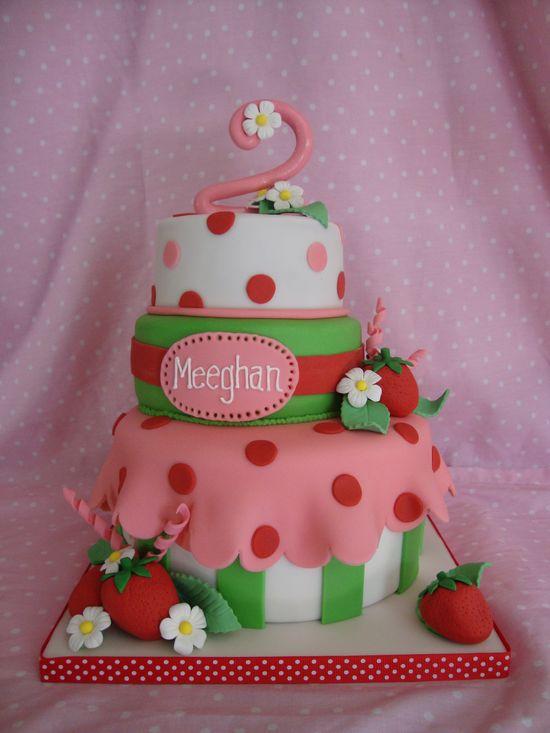 Cute Strawberry Shortcake Theme Cake