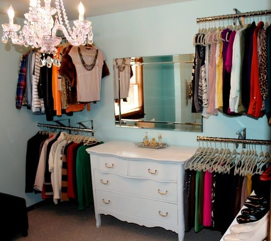 No closet, No problem. Add rods to the wall using decorative wall hook. Perfect to make a walk-in closet in a spare