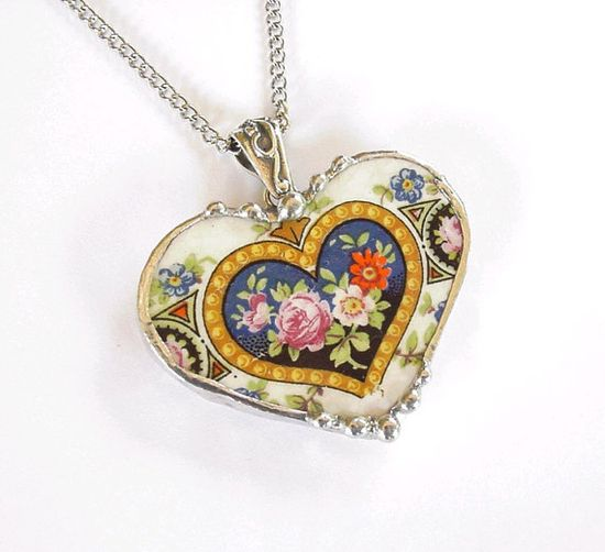 Broken china jewelry heart pendant necklace antique rose china from 1920's