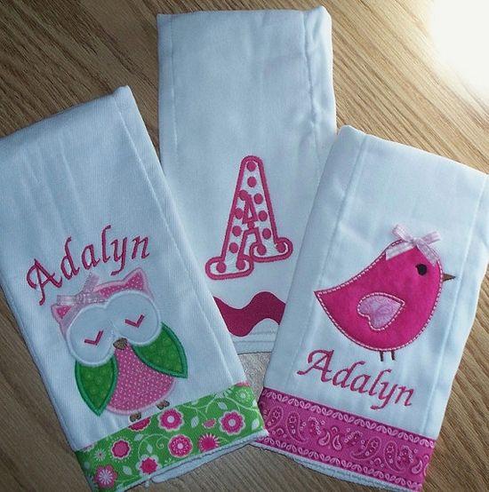 Baby Girl Burp Cloth Set  Owl Bird Polka Dot by LittleTexasBabes, $30.00