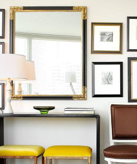 entrances/foyers - black console table yellow velvet stools brown silk chair mirror white lamp  Yellow & brown chic foyer entry design with black