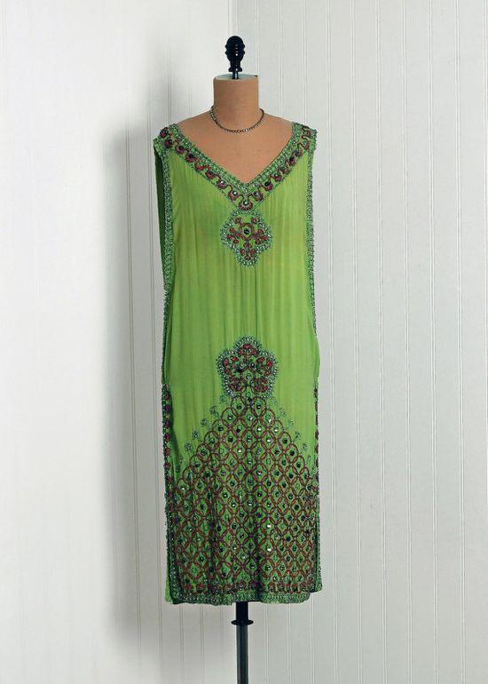 Gorgeous beadwork. 1920s sage green silk chiffon dress. #vintage