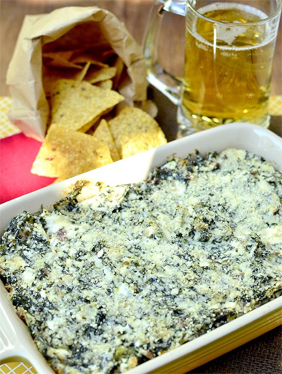 game day dip...spinach artichoke dip with blue cheese and bacon