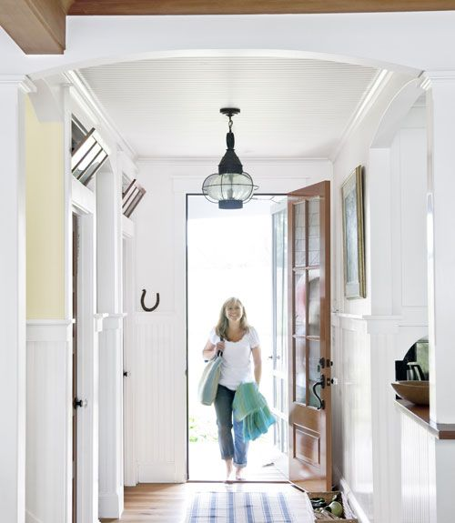 Great idea: Use an outdoor lantern in your entryway. #decorating #lighting