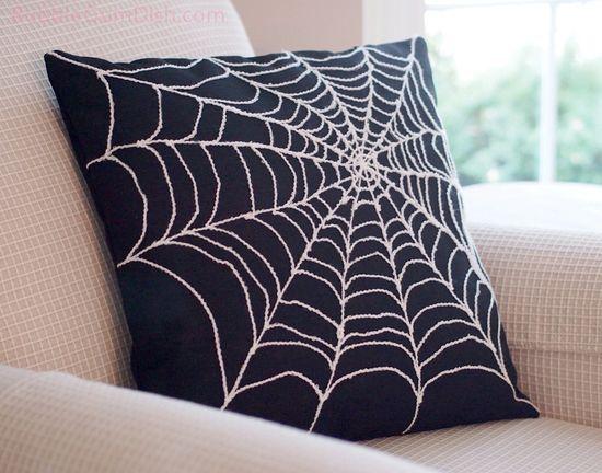 Spider Web Pillow...could do this w/ a cheap black pillow & a beach pen!