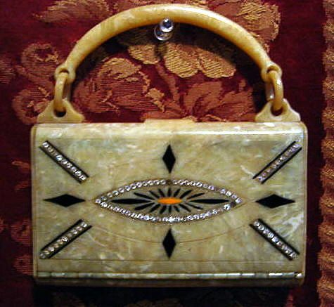 1920s art deco bag, celluloid and rhinestones