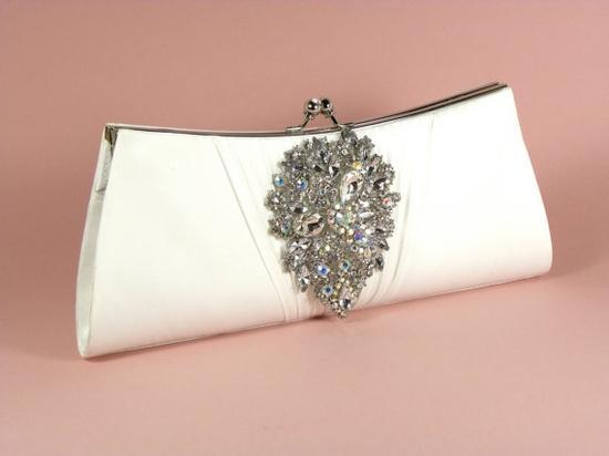 Ivory Bridal Clutch, Wedding Clutch, Rhinestone Bridal Clutch, Wedding Accessories, Crystal Rhinestone Brooch. $76.00, via Etsy.