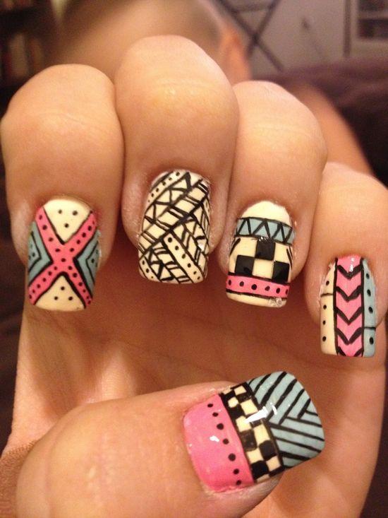Aztec geometric nail art