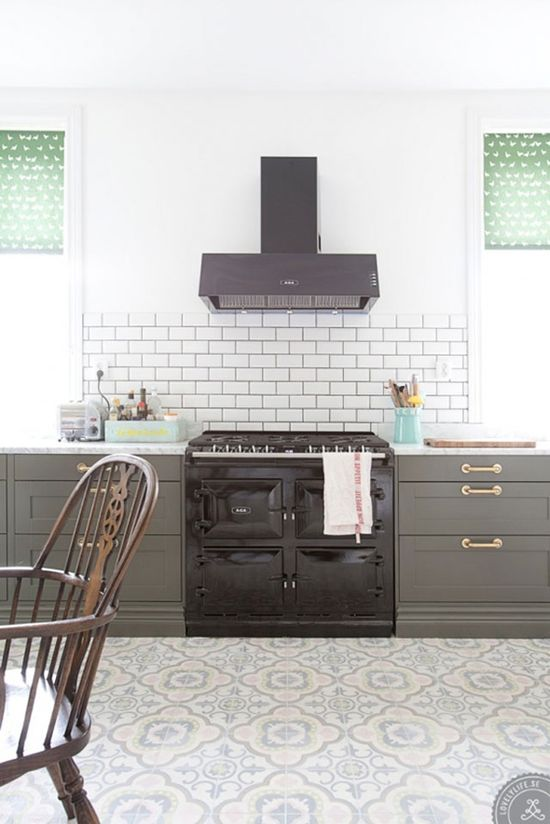Lovely patterned concrete floor tile, grey cabinets & brass hardware = beautiful!