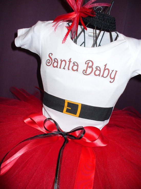 Santa Baby Christmas Red Tutu onesie set @Charity Carlson