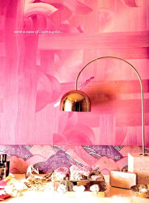 Texured pink walls.