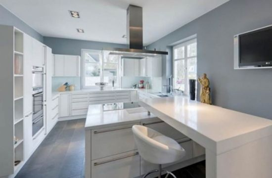 White Modern Kitchen Designs With Grey Wall