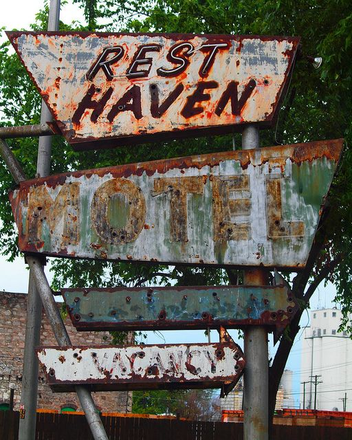 Route 66 Rest Haven Motel Sign, Oklahoma...if no one's been murdered here by the ghost of a wronged bride I will eat my hat.