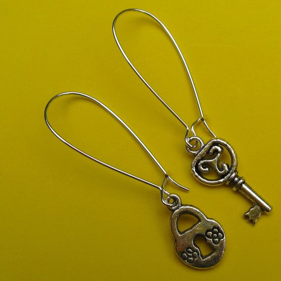 Lock and Key Earrings on French wires. $7.00.  www.etsy.com/...