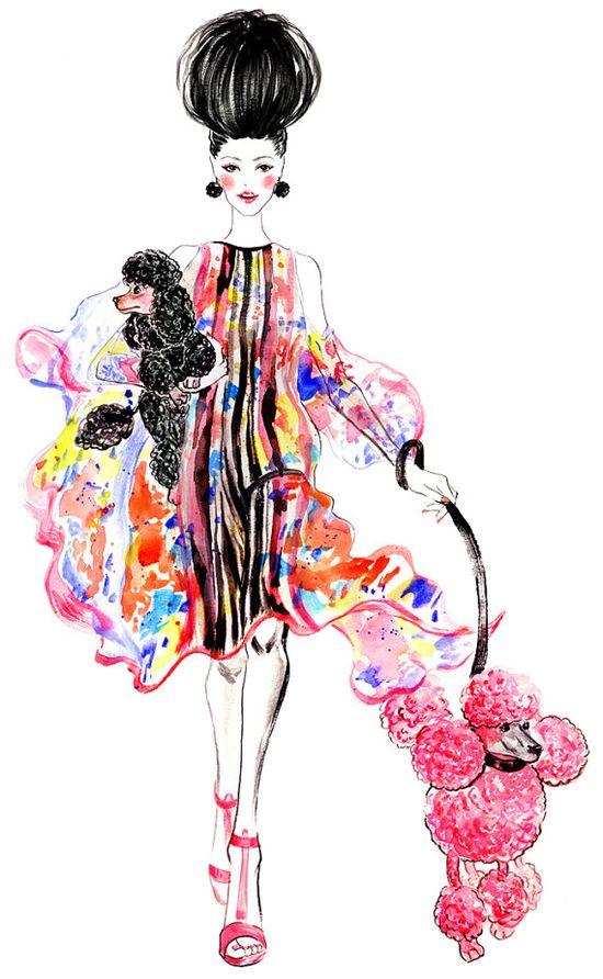 Poodles Watercolor Fashion illustration