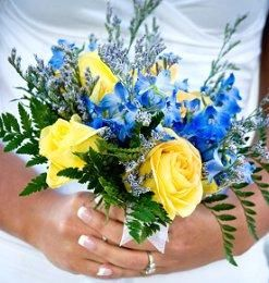 Blue and Yellow Bouquet - Blue Wedding Flowers [Slideshow]