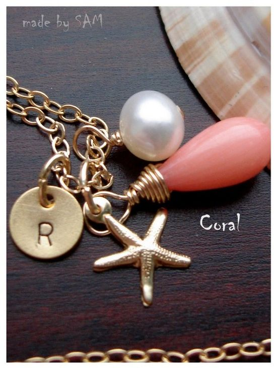 Coral , starfish , initial disc , pearl 14k gold filled chain Necklace - Custom initial and stone