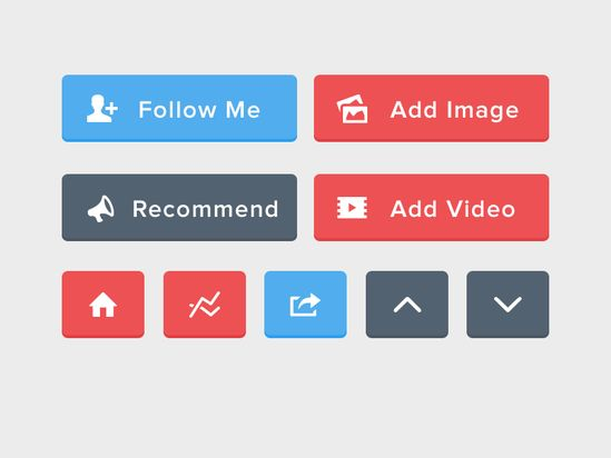 Flat UI Buttons (PSD Included) #psd #ui #flat