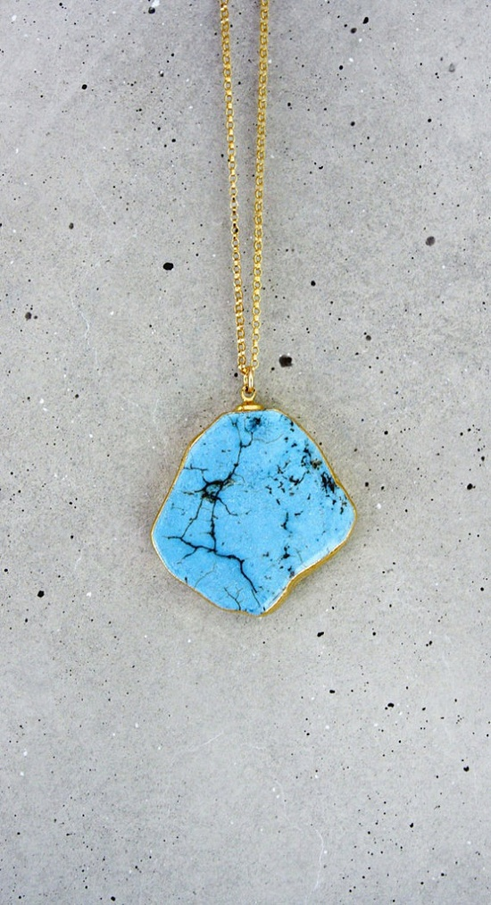 raw turquoise necklace