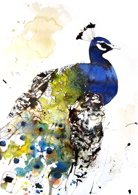 """Saatchi Online Artist: Lucy Newton; Ink, Mixed Media """"peacock"""""""