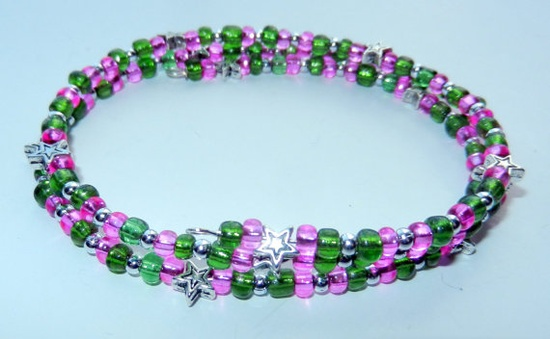 10 off Hot Pink and Green Memory Wire Bracelet by CloudNineDesignz, $11.00