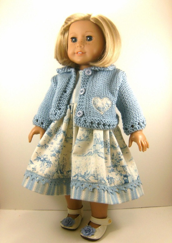 18 Inch Doll Clothes American Girl Blue Hand Knitted Sweater and Blue Toile and Stripes Sleeveless Dress. $30.00, via Etsy.
