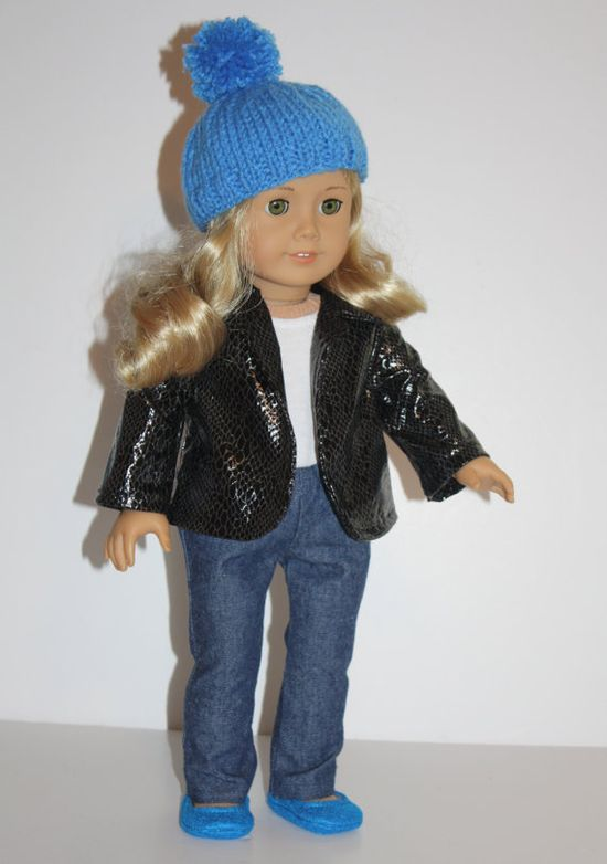 American Girl Doll Hat Blue Hand Knit PomPom Hat  by FrogBlossoms, $14.00