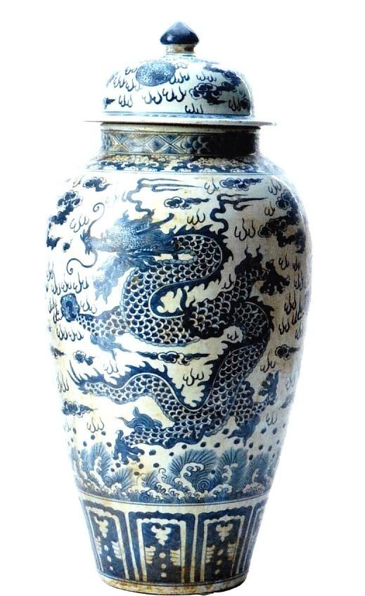 Chinese Blue & White Dragon Temple Jar  A Beautiful Example of The Historical & Inspiring Chinese Art of Free Hand Painted Porcelains. Elegant Hollywood Interior Design Accents, Courtesy of InStyle-Decor.com Beverly Hills for Interior Design Fans to Enjoy