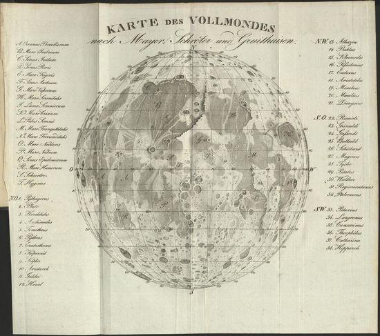 German Moon Map drawn in 1829.