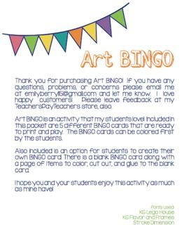 Art BINGO for Elementary ... Has a great option to make your own bingo card! Great for a FUN classroom activity!
