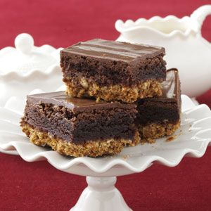 """Pretzel crust, prepared brownie mix and peanut butter/chocolate """"frosting""""...yummy!!"""