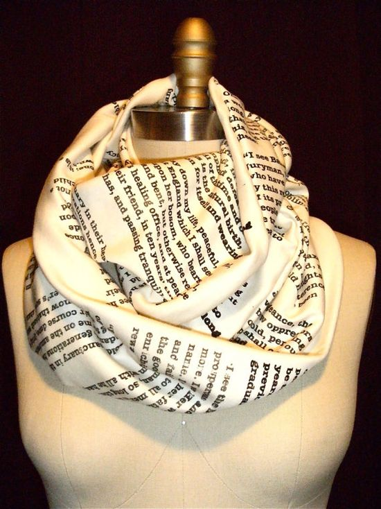 Scarves Printed With Pages From Your Favorite Books $39.99 cute gift for the book lover.