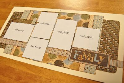 Scrapbook layouts from Scrapbook Generation. This would be good for a double page in my wedding scrapbook