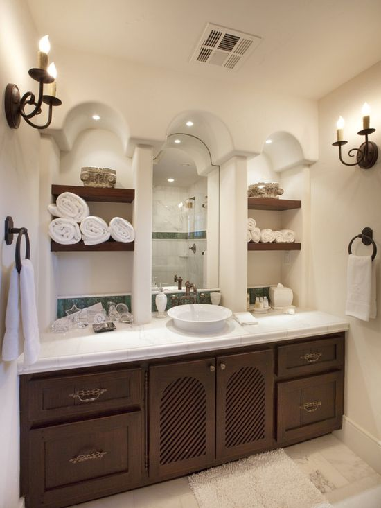 In love with the shelves and arches #shelf #bathroom