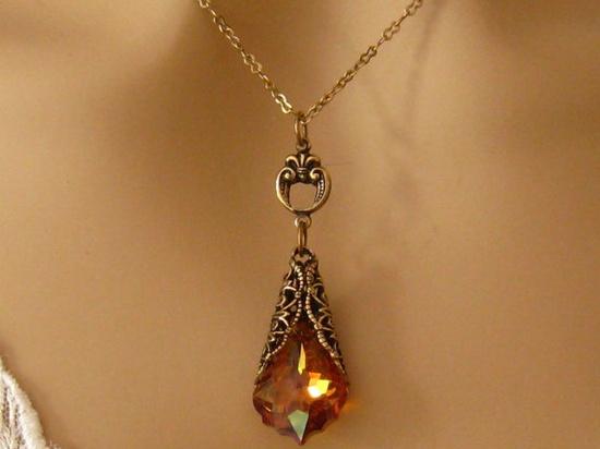 Orange Wedding Jewelry Romantic Victorian by martywhitedesigns, $38.50