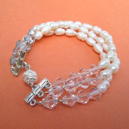 15% OFF SALE THROUGH JUNE WITH MIMI8 CODE AT CHECKOUT. $17.00.  PEARL BRACELET by MimiJewels on Etsy.  www.etsy.com/...