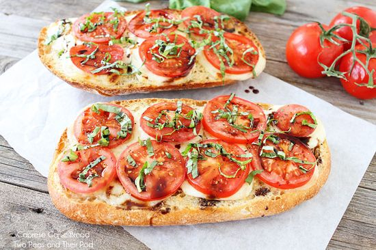 Caprese Garlic Bread...layers of fresh mozzarella on fresh bread with tomatoes, basil and balsamic...darlin--it's heaven.