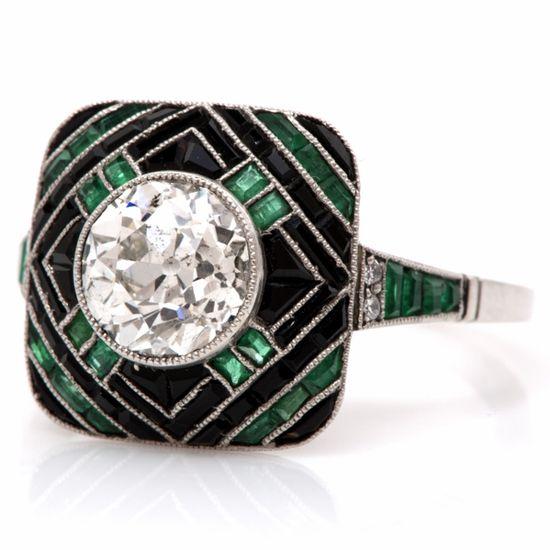 Antique Art Deco 2.60cts Diamond Emerald Onyx Platinum  Ring