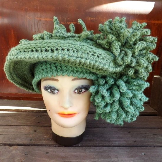 crochet derby hat - crochet ascot hat designed by strawberry couture