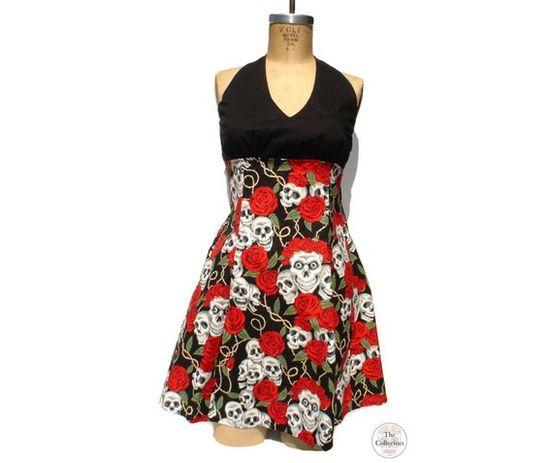 Handmade Tattoo Skull & Roses Pinup Rockabilly Dress-Dresses