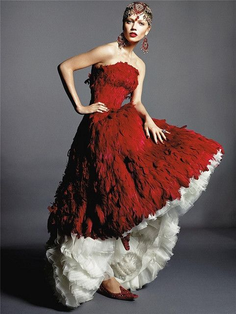 red feathers wedding dress
