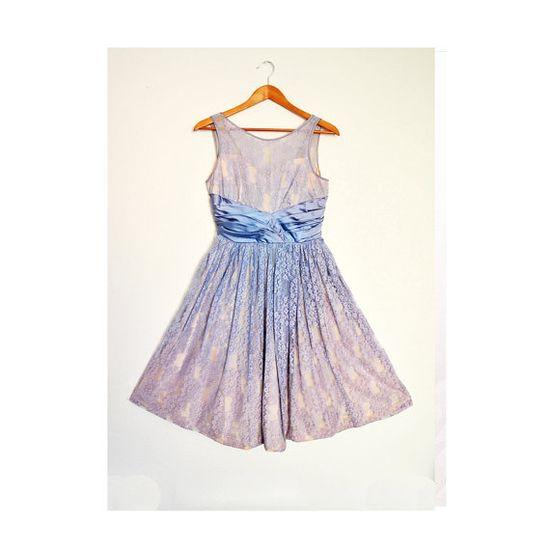 Vintage 50s Blueberry Lace Dress by ZooeysVintage on Etsy
