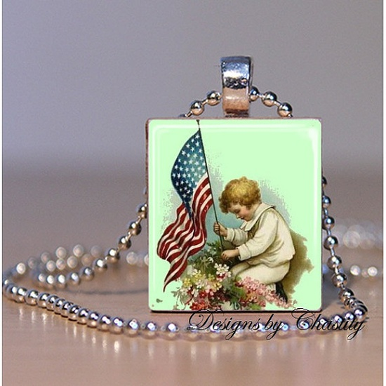Memorial Day Scrabble Necklace by DesignsbyChastity on Etsy, $6.45